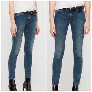 All Saints Mast Skinny Low Rise Jeans - Sz 24